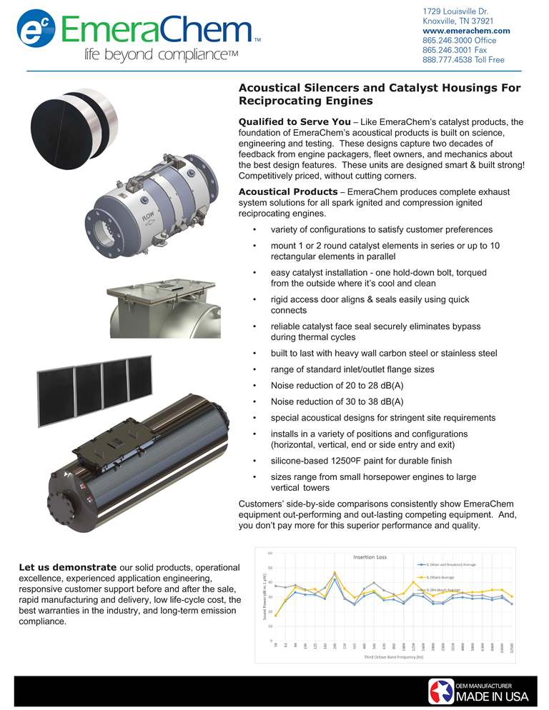 Acoustical Silencers and Catalyst Housings for Recip Engines